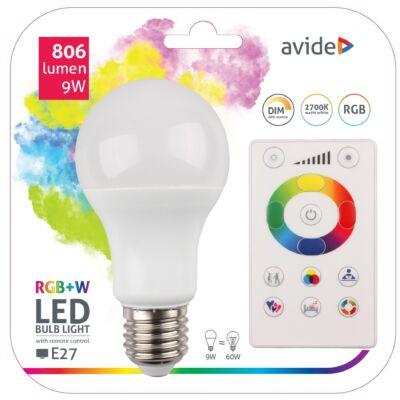 Avide Smart LED gömb (A60) 9W RGB+W (2700K) IR távirányítóval