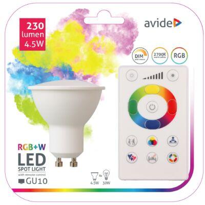 Avide Smart LED spot (GU10) 4,5W RGB+W (2700K) IR távirányítóval
