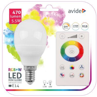Avide Smart LED mini gömb 5,5W RGB+W (2700K) IR távirányítóval