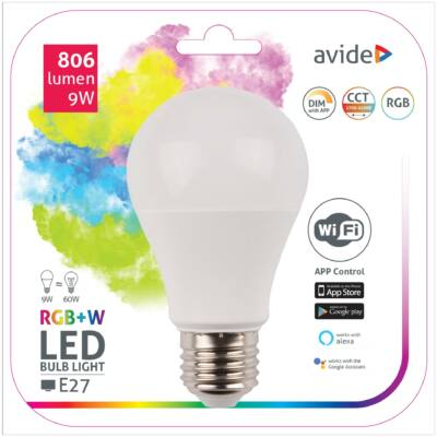 Avide Smart LED gömb (A60) 9W RGB+W WIFI APP control
