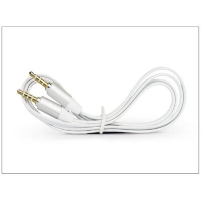 3,5 - 3,5 mm jack audio kábel 1 m-es lapos vezetékkel, alumínium csatlakozó fejjel - fehér/ezüst