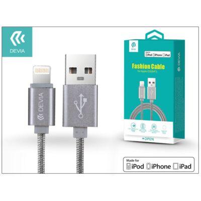 Apple iPhone 5/5S/5C/SE/iPad 4/iPad Mini USB töltő- és adatkábel - 2 m-es vezetékkel (Apple MFI engedélyes) - Devia Fashion Cable Lightning - grey