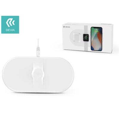 Devia Qi univerzális vezeték nélküli töltő állomás - 5V/1A - Devia 3in1 Wireless Charger for Smartphone + Apple Watch + Earphone - white