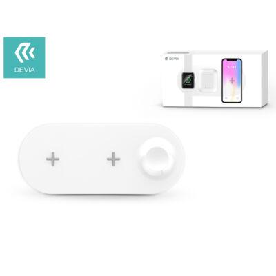 Devia Qi univerzális vezeték nélküli töltő állomás - 18W - Devia V.2 3in1 Wireless Charger for Smartphone + Apple Watch + Earphone - white