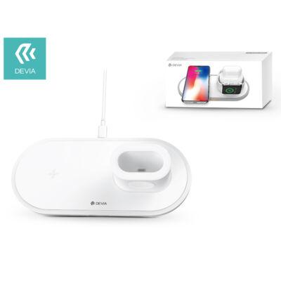 Devia Qi univerzális vezeték nélküli töltő állomás - 18W - Devia V.3 3in1 Wireless Charger for Smartphone + Apple Watch + Earphone - white