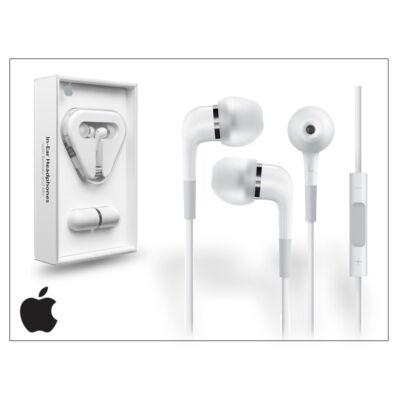 Apple iPhone 3G/3GS/4/4S/5 eredeti távirányítós, sztereó headset mikrofonnal - fehér - MA850G/B