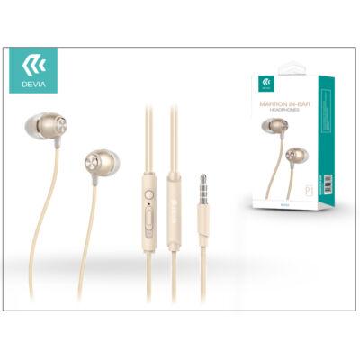Devia univerzális sztereó felvevős fülhallgató - 3,5 mm jack - Devia Marron P1 In-Ear Headphones - champagne gold