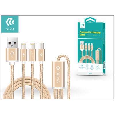 USB - micro USB + 2x Lightning adat- és töltőkábel 1,2 m-es vezetékkel - Devia Premium 3in1 Charging Cable USB 2.1 - champagne gold
