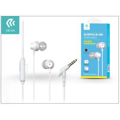 Devia univerzális sztereó felvevős fülhallgató - 3,5 mm jack - Devia Ripple D3 In-Ear Headphones - white