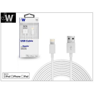 Apple iPhone 5/5S/5C/SE/iPad 4/iPad Mini USB töltő- és adatkábel - 3 m-es vezetékkel (Apple MFI engedélyes) - Just Wireless Lightning - fehér