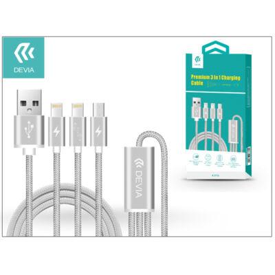 USB - micro USB + 2x Lightning adat- és töltőkábel 1,2 m-es vezetékkel - Devia Premium 3in1 Charging Cable USB 2.1 - grey