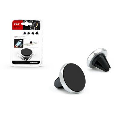 Univerzális szellőzőrácsba illeszthető mágneses PDA/GSM autós tartó - Fly C1554B - fekete/ezüst