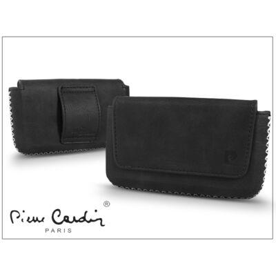 Pierre Cardin vízszintes, fűzős, valódi bőrtok - Apple iPhone 4/4S - Type-6 - fekete