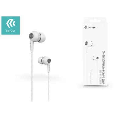 Devia univerzális sztereó felvevős fülhallgató - 3,5 mm jack - Devia Kintone In-Ear Wired Earphones - white