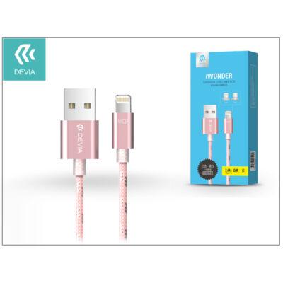USB - micro USB + Lightning adat- és töltőkábel 1,5 m-es vezetékkel - Devia iWonder 2in1 Charging Cable USB 2.4A - pink
