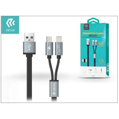 USB - micro USB + Lightning adat- és töltőkábel 1,2 m-es vezetékkel - Devia Magnet 2in1 Charging Cable USB 2.4 - black