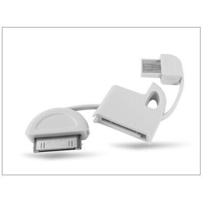 Apple iPhone 2G/3G/3GS/4/4S/iPad/iPad2/iPod USB kulcstartó adatkábel - fehér