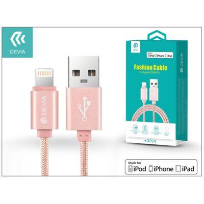 Apple iPhone 5/5S/5C/SE/iPad 4/iPad Mini USB töltő- és adatkábel - 2 m-es vezetékkel (Apple MFI engedélyes) - Devia Fashion Cable Lightning - rose gold