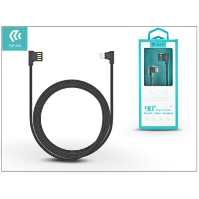 Apple iPhone 5/5S/5C/SE/iPad 4/iPad Mini USB töltő- és adatkábel 1 m-es vezetékkel - Devia King 90 Double Angled for Lightning USB 2.4 - black