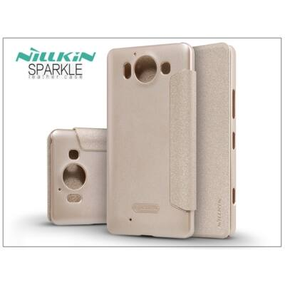 Microsoft Lumia 950 oldalra nyíló flipes tok - Nillkin Sparkle - golden