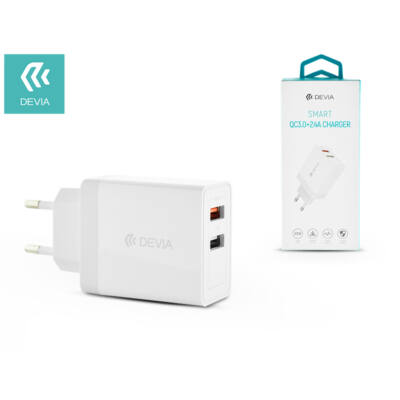 Devia hálózati töltő adapter 2xUSB bemenettel - 5V/3A - Devia Smart Series 2.4A Charger + QC3.0 - Qualcomm Quick Charge 3.0 - white