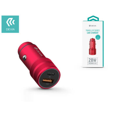 Devia szivargyújtós töltő adapter USB + Type-C bemenettel - 5V/3A - Devia Traveller Series PD Quick Car Charger - red