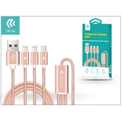 USB - micro USB + 2x Lightning adat- és töltőkábel 1,2 m-es vezetékkel - Devia Premium 3in1 Charging Cable USB 2.1 - rose gold