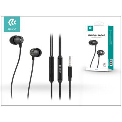 Devia univerzális sztereó felvevős fülhallgató - 3,5 mm jack - Devia Marron P1 In-Ear Headphones - black