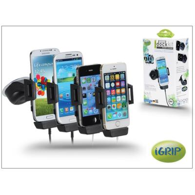 iGrip univerzális, aktívá alakítható autós telefontartó Apple és micro USB töltőkábel tartó adapterrel - iGrip Smartphone Charging Dock Kit