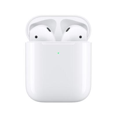 Apple AirPods (2. generáció) eredeti gyári sztereó bluetooth headset + vezeték nélküli töltőtok - MRXJ2ZM/A - fehér