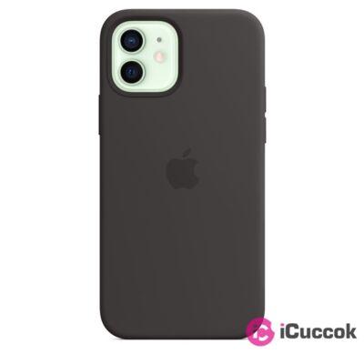 Apple iPhone 12/12 Pro MagSafe Black fekete szilikon tok