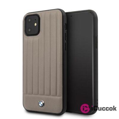 BMW iPhone 11 csíkos barna kemény bőrtok