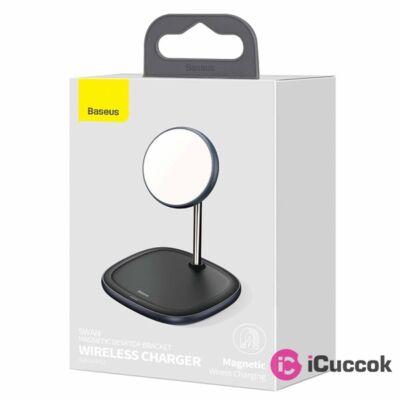Baseus Swan 15W mágneses, fekete vezeték nélküli töltő és tartó iPhone 12 telefonhoz