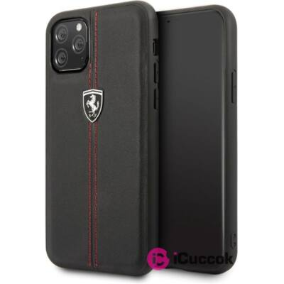 FERRARI GEN iPhone 11 függőlegesen csíkozott fekete kemény bőrtok