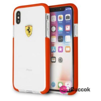 Ferrari iPhone X fényes, átlátszó kemény piros tok