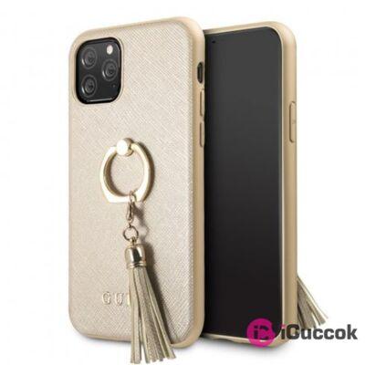 GUESS Saffiano iPhone 11 Pro gyűrűs kitámasztóval bézs kemény tok