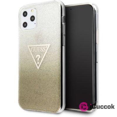 GUESS iPhone 11 Pro Max csillámos folyadékos háromszöges arany TPU tok