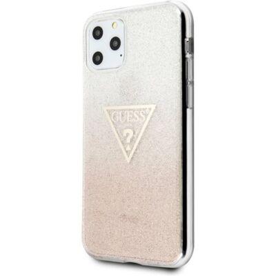 GUESS iPhone 11 Pro csillámos folyadékos háromszöges rózsaszín TPU tok