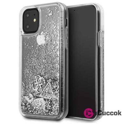 GUESS iPhone 11 csillámos folyadékos szíves ezüst kemény tok