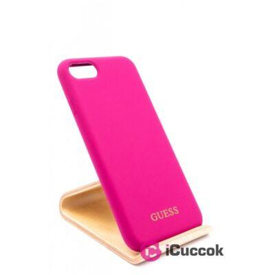 Guess iPhone 8 arany logóval szilikon pink tok