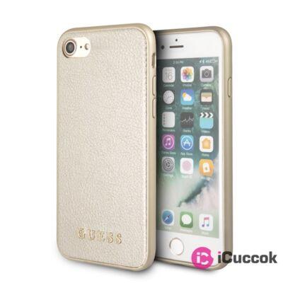 Guess iPhone 8 arany színváltós/kemény műbőr tok