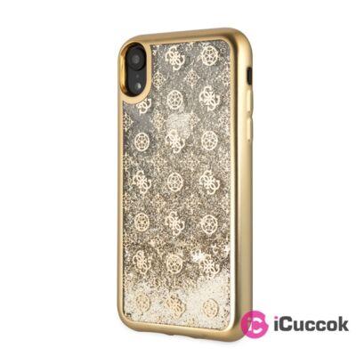 Guess iPhone XR arany csillámfolyadékos/rózsa mintás tok