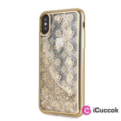 Guess iPhone X/XS rózsa mintás csillám folyadékkal arany tok