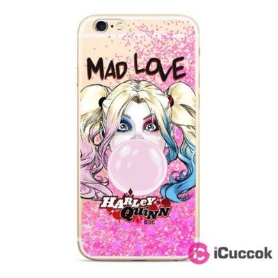 Harley Quinn 001 iPhone XR rózsaszín csillámfolyadékos hátlap