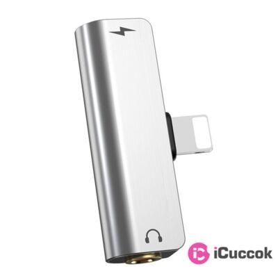 Hoco HOC0078 LS25 Lightning/Jack ezüst audio adapter