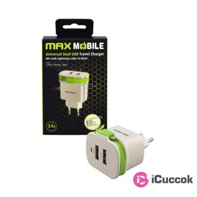 Max Mobile 3,4A univerzális fehér-zöld hálózati töltő + MFI Apple kábe