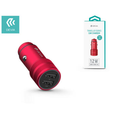 Devia Dual USB szivargyújtós töltő adapter - 5V/2,4A - Devia Traveller Series Car Charger - red