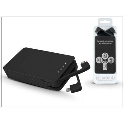 Univerzális hordozható, asztali akkumulátor töltő Lightning és micro USB csatlakozóval - Juice Weekender Power Bank - 8600 mAh - black