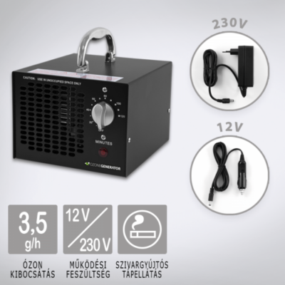 Ózongenerátor / Ozongenerator Black 3500 12V Légtisztító készülék