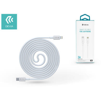 USB Type-C - Lightning adat- és töltőkábel 1 m-es vezetékkel - Devia Smart Series PD Cable for Lightning - 3.0A - white